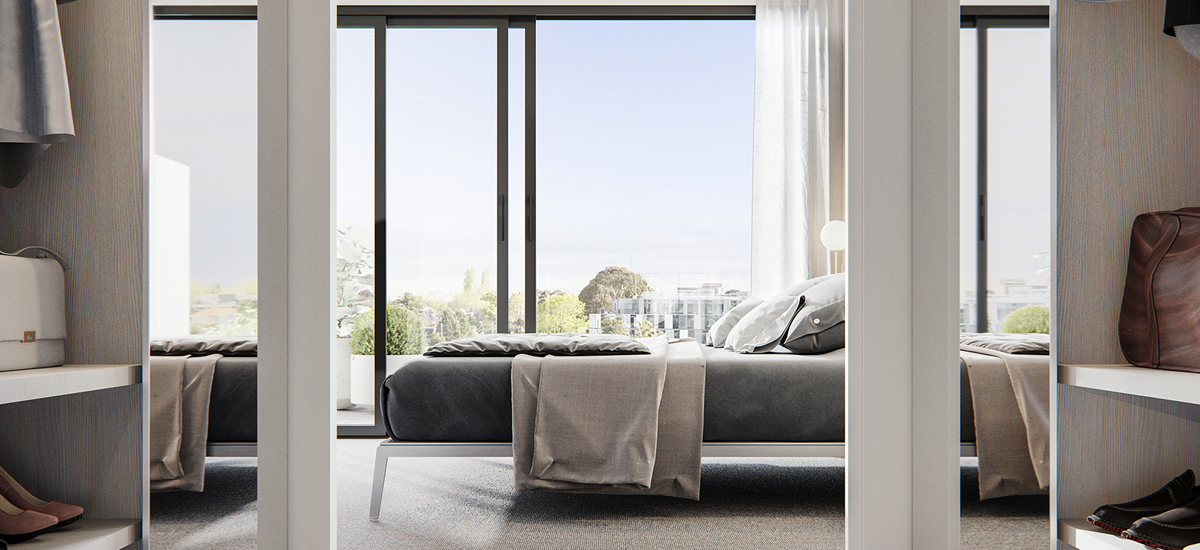 Off plan apartment for sale 67 Parkside apartment bedroom with large windows in Caulfield North