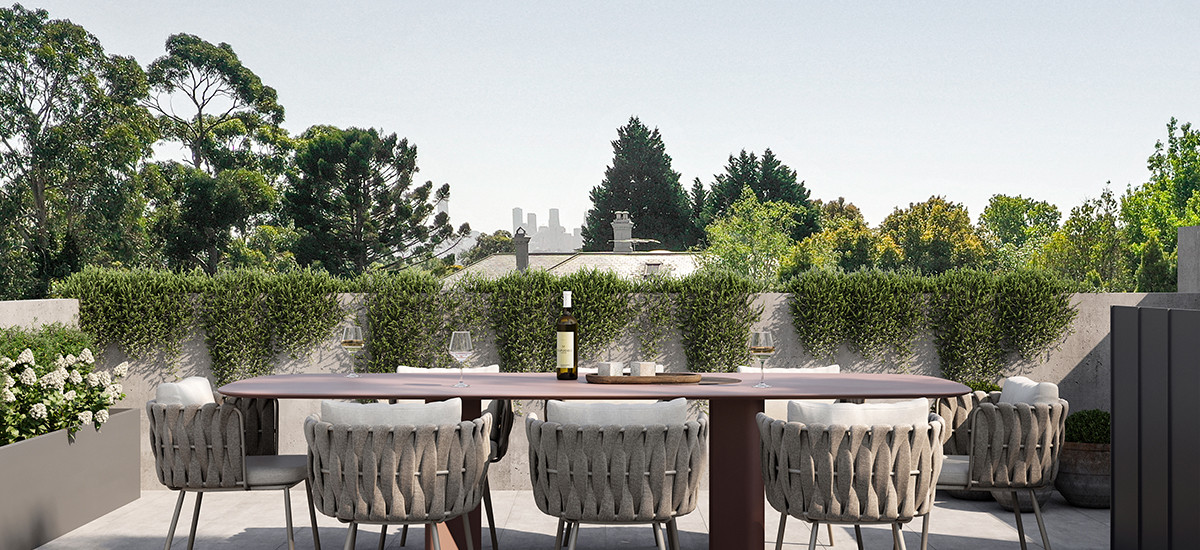 botanica apartment development luxury sustainability environmentally conscious design green terrace balcony green garden integrated dining outdoor