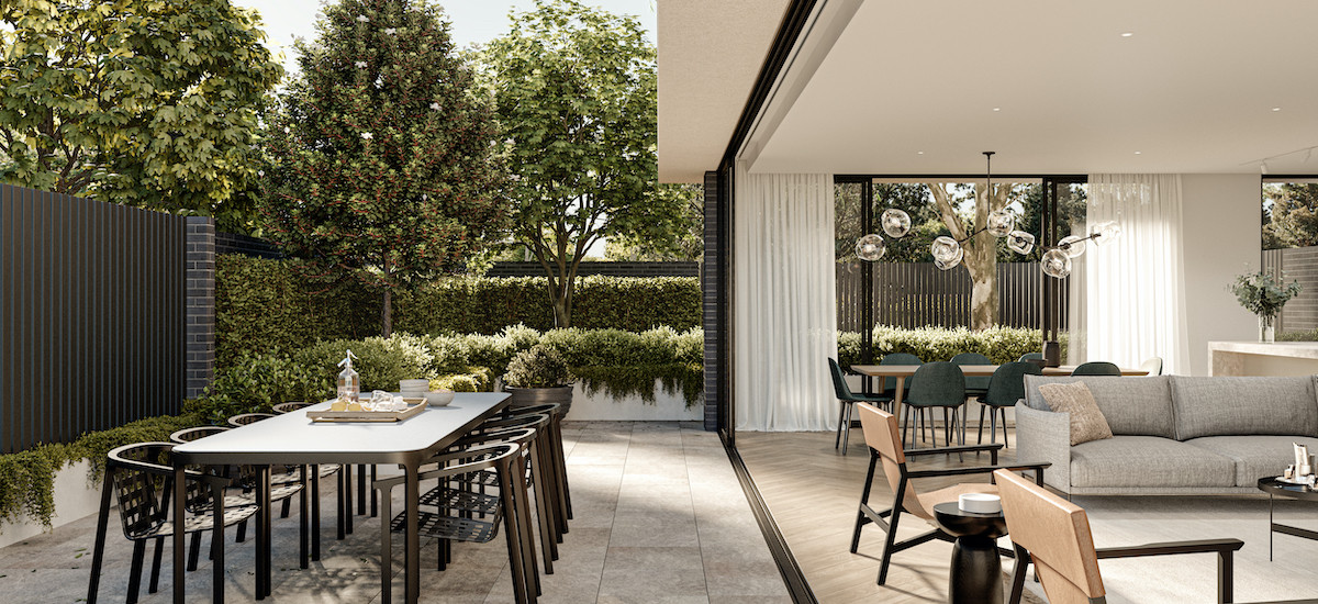 the park residences melbourne victoria apartments and developments residential terrace courtyard balcony indoor outdoor living dining lounge living garden