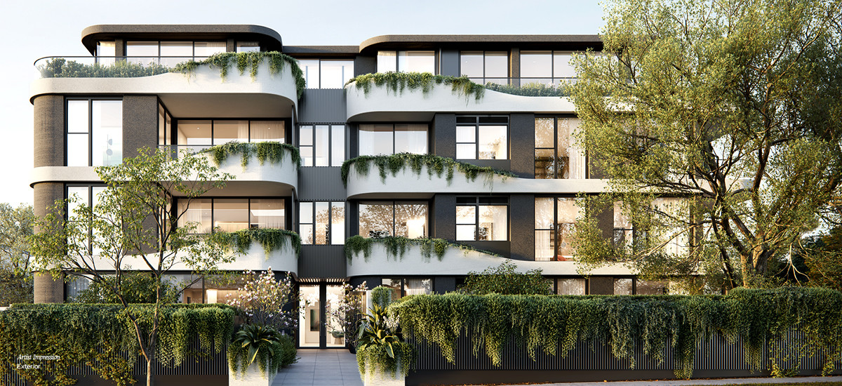 contour malvern residential apartments and developments melbourne facade landscaping greenery