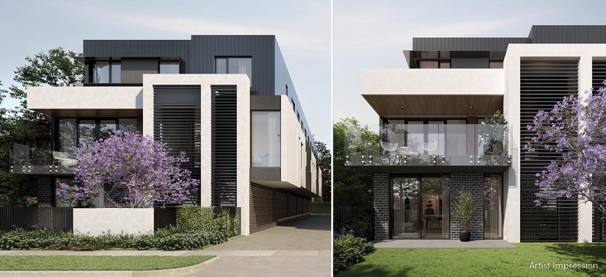 cascade townhomes residences apartments and developments box hill facade green garden