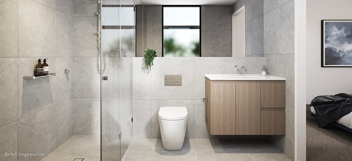 cascade townhomes residences apartments and developments box hill master ensuite bathroom shower vanity marble tiles