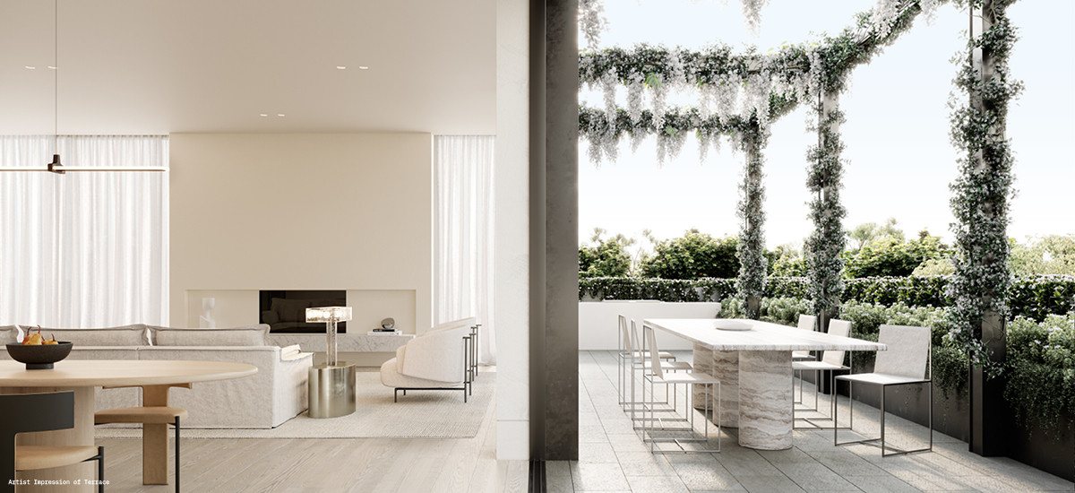 soligo apartments and developments paul conrad lisa ellis gardens european aesthetic design balwyn melbourne indoor outdoor lounge living dining terrace balcony fireplace