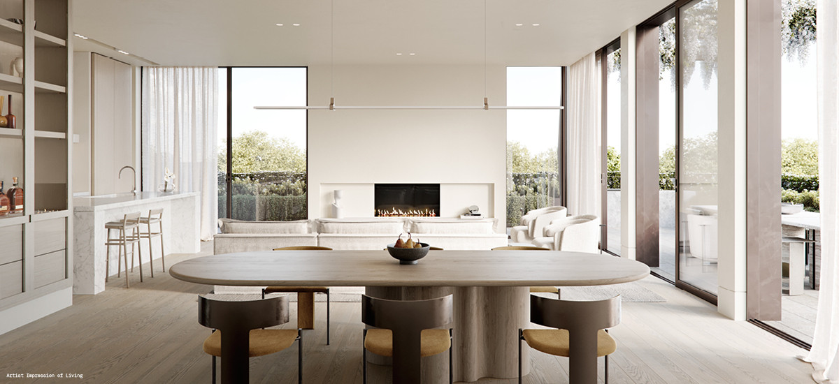 soligo apartments and developments paul conrad lisa ellis gardens european aesthetic design balwyn melbourne lounge living dining terrace garden kitchen fireplace