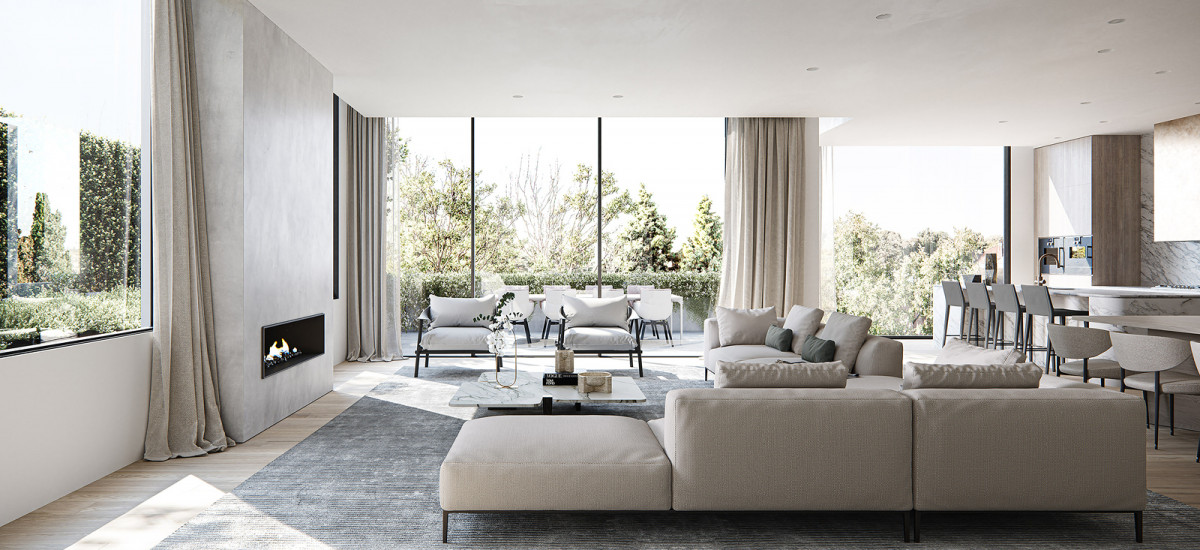 fawkner house award winning apartment and development residential beulah rob mills melbourne victoria living lounge dining kitchen balcony windows floor to ceiling