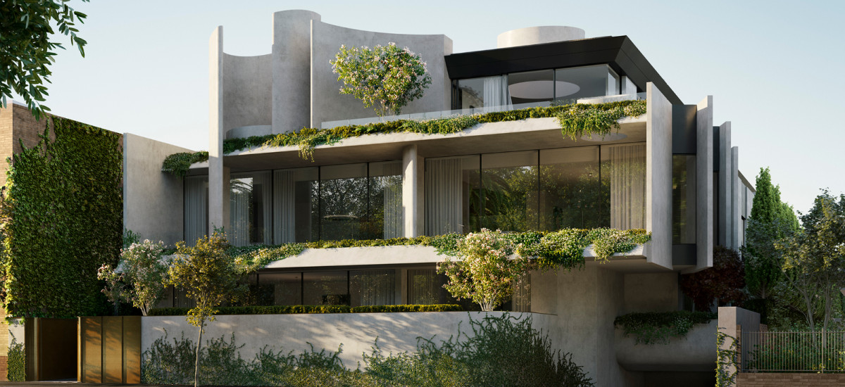 fawkner house award winning apartment and development residential beulah rob mills melbourne victoria facade greenery garden landscaping