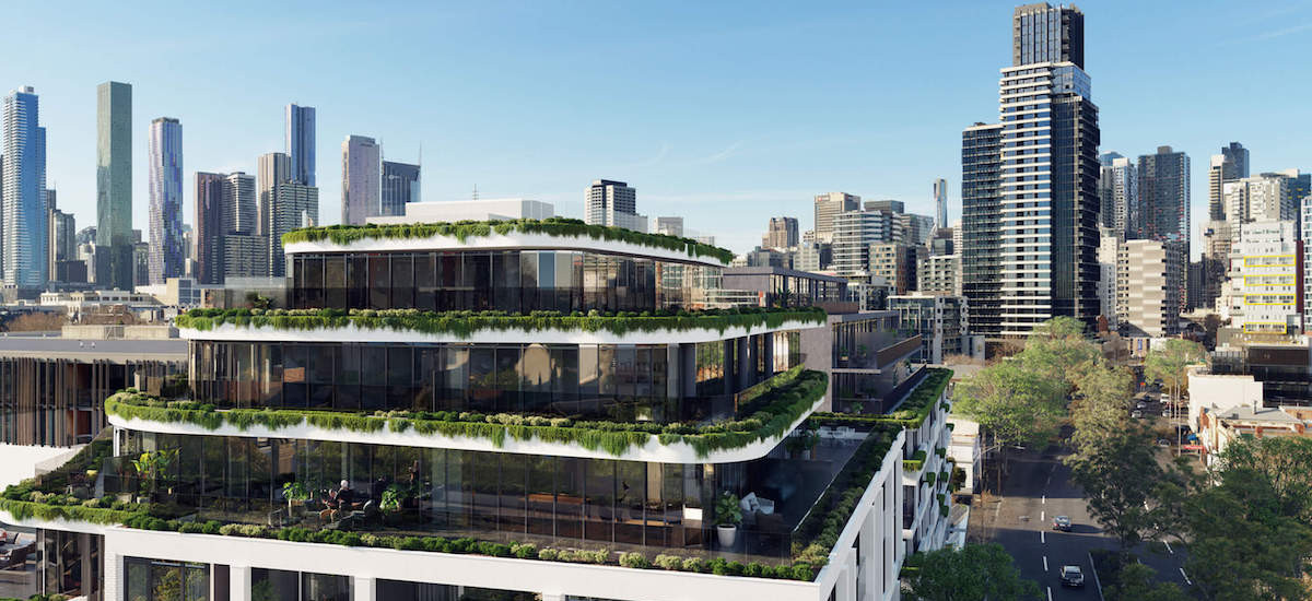 the marker melbourne victoria residential apartments and developments facade garden rooftop terrace balcony skyline city