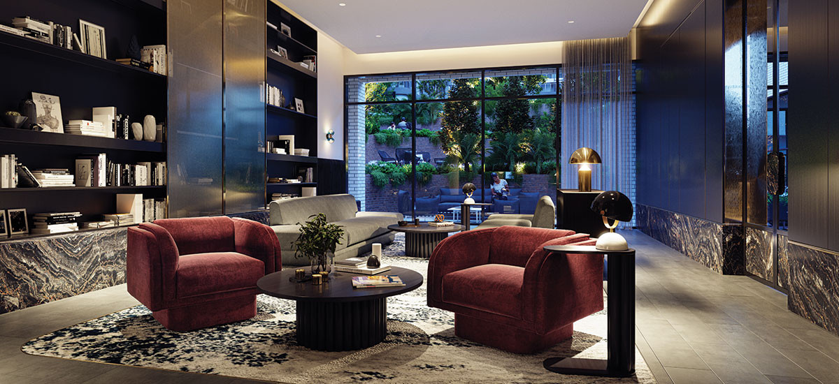 the marker melbourne victoria residential apartments and developments communal shared spaces lounge breakaway entertaining