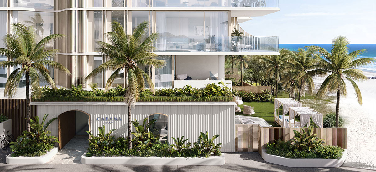 cabana queensland palm beach gold coast residential apartment luxury beach front resort style sand beach sea apartments and developments streetscape facade