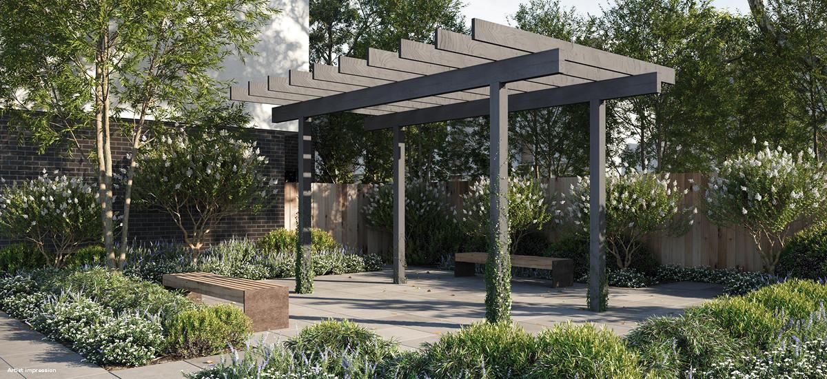ascot place maribyrnong outdoor living nature parkland serene entertaining communal outdoor garden terrace pavillion