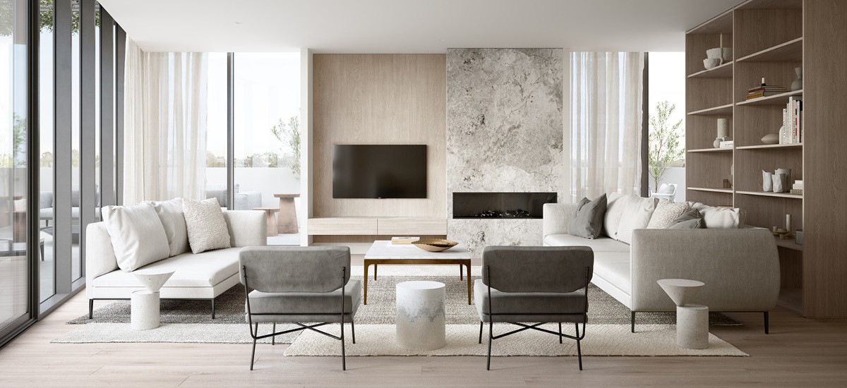 glenarm square glen iris apartment and development sustainable residential eco conscious lifestyle melbourne residential living lounge fireplace sleek contemporary hecker guthrie interior