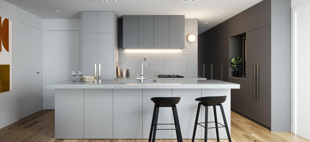 arches maribyrnong apartment development melbourne kitchen entertaining cooking sleep architecture