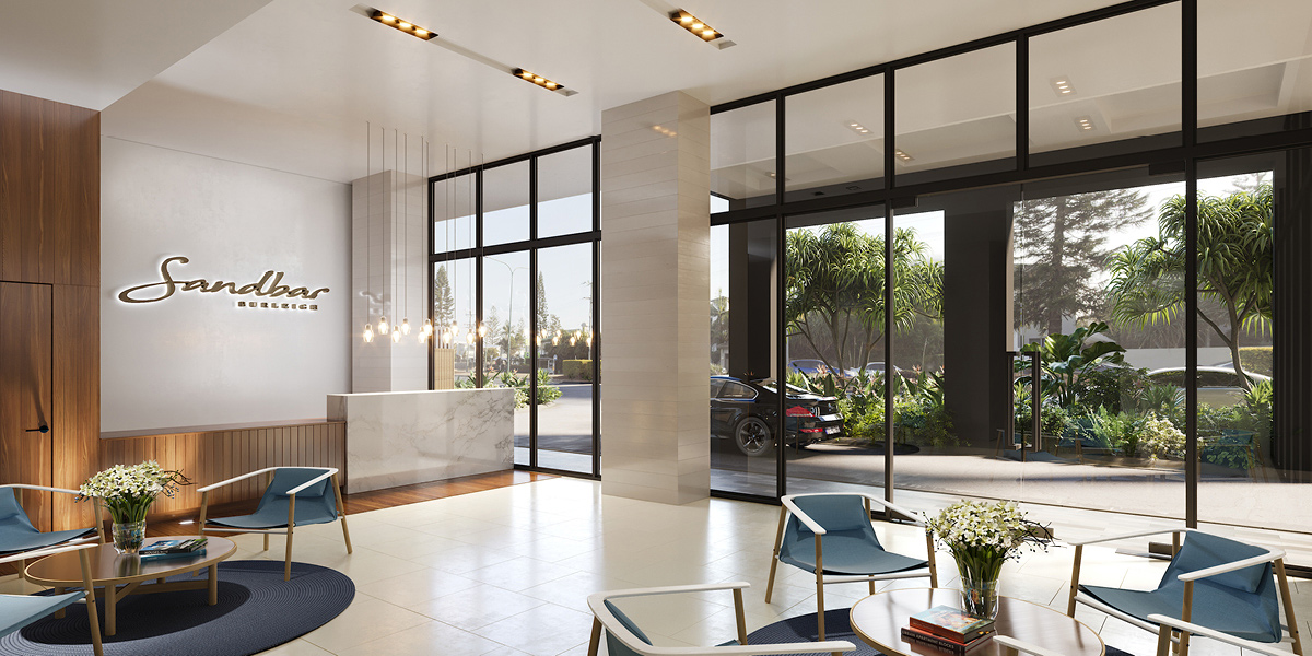 off plan apartment for sale Sandbar Burleigh apartment lobby in Burleigh Heads Queensland