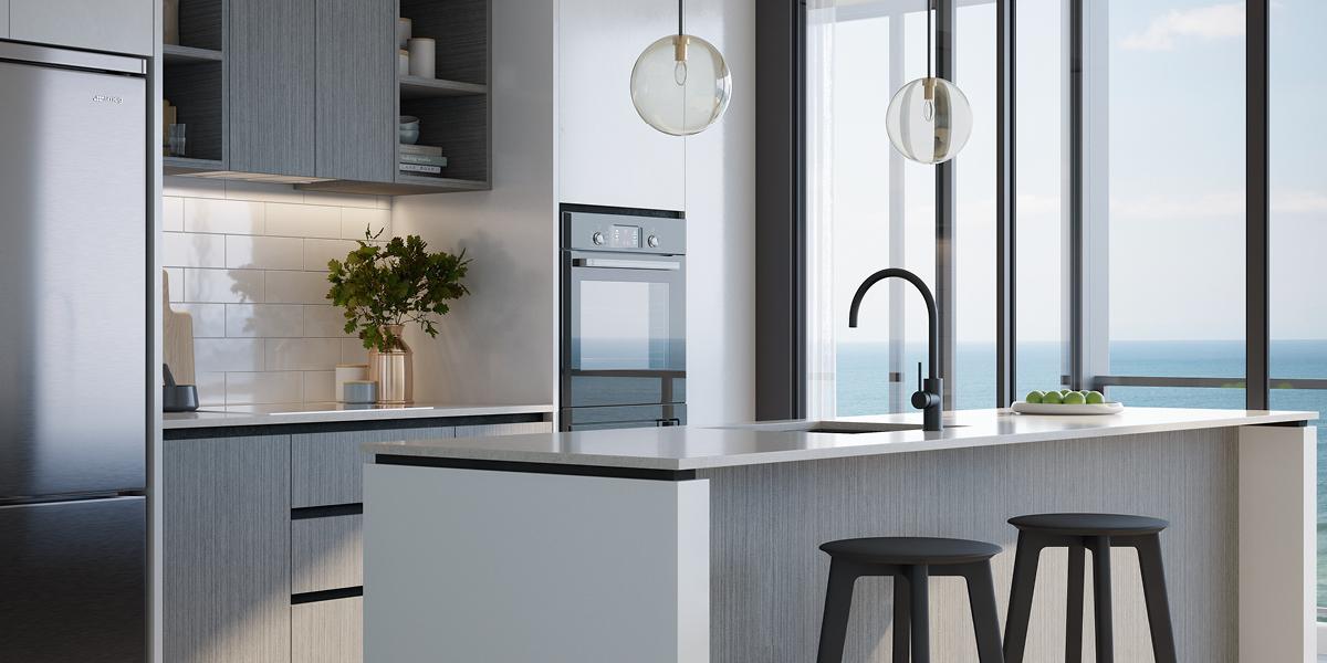 off plan apartment for sale Sandbar Burleigh apartment kitchen in Burleigh Heads Queensland